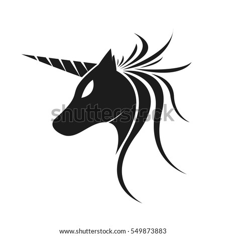 unicorn horse tribal logo silhouette isolated stock vector