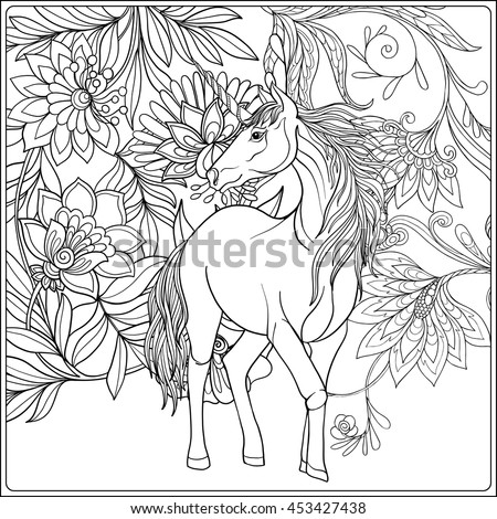 magical unicorn coloring pages - child unicorn drawing stock images royalty free images