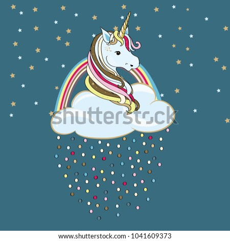 Unicorn in the cloud with rainbow and colored drops. Vector illustration on turquoise background