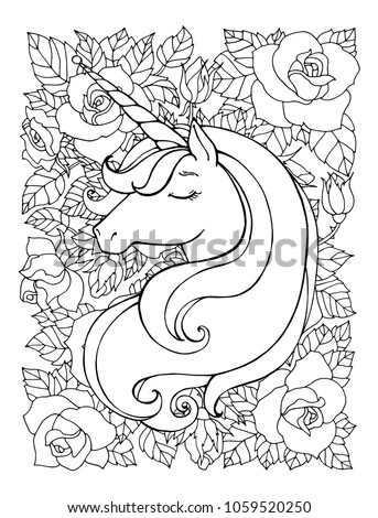 Unicorn Magical Animal Vector Artwork Black And White Coloring Book Pages For