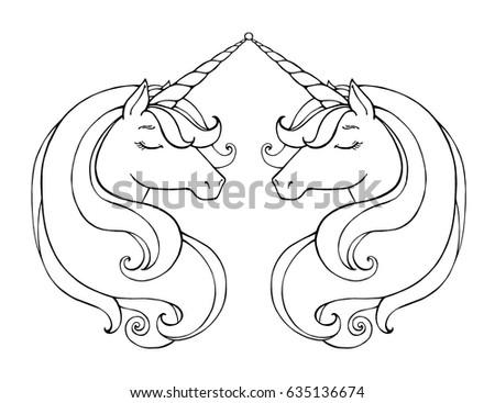 Unicorns Isolated Magical Animal Vector Artwork 663079831