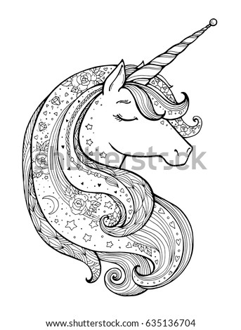 Magical Animal Vector Artwork Black And White Coloring Book Pages For
