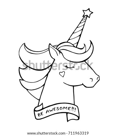 Unicorn Text Be Awesome Magical Animal Vector Artwork Black And White