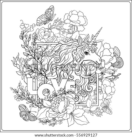 unicorn coloring page unicorn the composition consists of a unicorn surrounded by a bouquet of roses and word