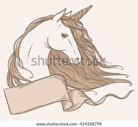 Unicorn. Vector hand drawn illustration. Banner with place for your text