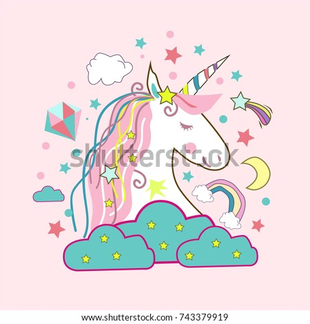 Unicorn vector icon isolated on white. Head portrait horse sticker, patch badge.