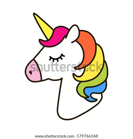 Unicorn Vector Icon Isolated On White Head Portrait Horse Sticker Patch Badge Cute