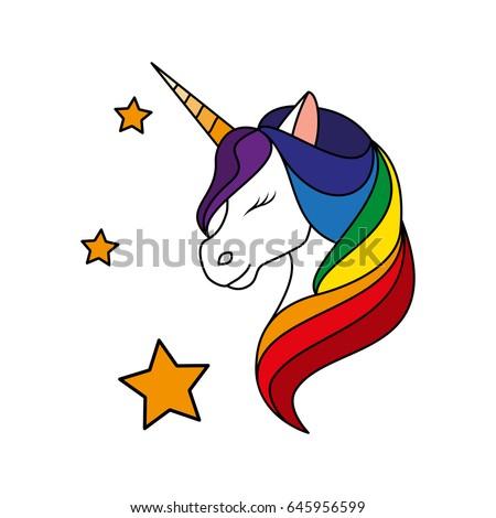 unicorn rainbow mane fashion patch badges stock vector Eyes Shut Clip Art Closed Eyes Clip Art
