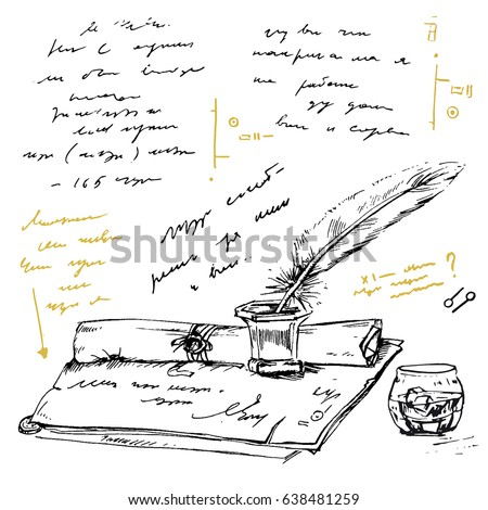 unidentified abstract handwriting scribble ancient notes stock