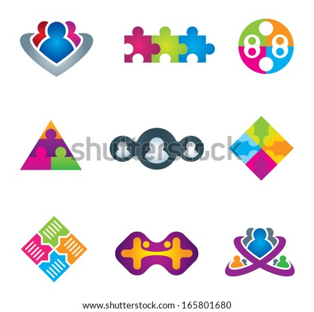 Unification of social community network and communication icons on white background logo leader teamwork business vector illustration - stock vector