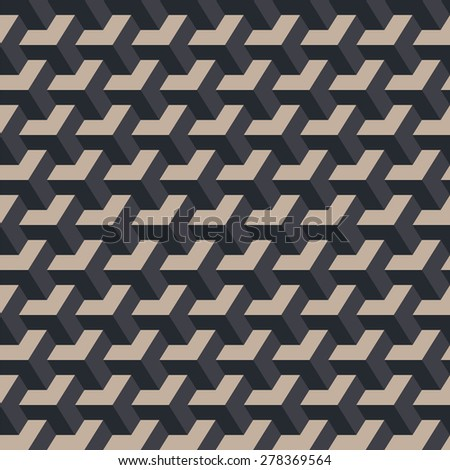 Uniform diagonal rows dimensional cubes. Seamless vector pattern. Grey and yellow colors. Background for desktop or gift wrapping.