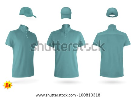Uniform template set: polo shirts and baseball cap. - stock vector