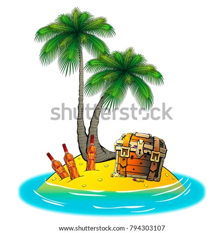 Uninhabited island in the ocean. With a pirate treasure chest, rum, and palm trees.