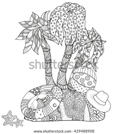 Christmas Coloring Book Page Uninhabited Island Starfish Lifebuoy Sunglasses Ball Flip Flops Hand