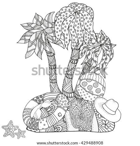Christmas Coloring Book Page Uninhabited Island Starfish Lifebuoy Sunglasses Ball Flip Flops Hand
