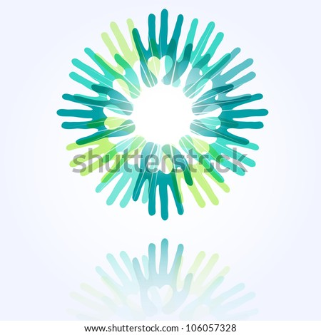 union and peace concept, a circle made from hands with hearts - stock vector