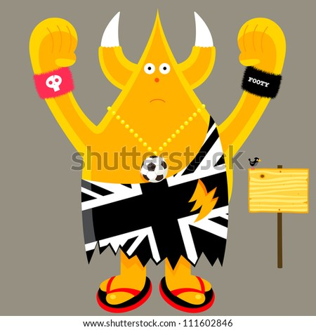 Union Jack British football fan character vector