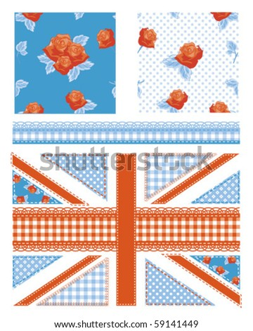 Union Jack design elements for scrap booking, cushion covers, textiles, paper craft and more all patterns are repeat. - stock vector