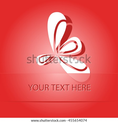 unique abstract forms. Paper red sticker as bookmark. Vector illustration. - stock vector