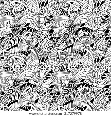 unique coloring book page for adults - floral authentic carpet design, joy to older children and adult colorists, who like line art creation, relax and meditation, vector illustration - stock vector