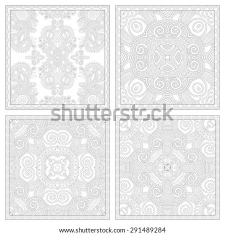 unique coloring book square page set for adults - floral authentic carpet design, joy to older children and adult colorists, who like line art and creation, vector illustration - stock vector
