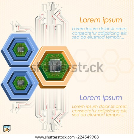 Unique concept for technology background; Mini electronic chips framed by three dimensions hexagons. Abstract background for office and business, wallpaper, poster, template for designers.  - stock vector