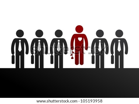 Unique concept. Loving man in the middle of casual men. - stock vector