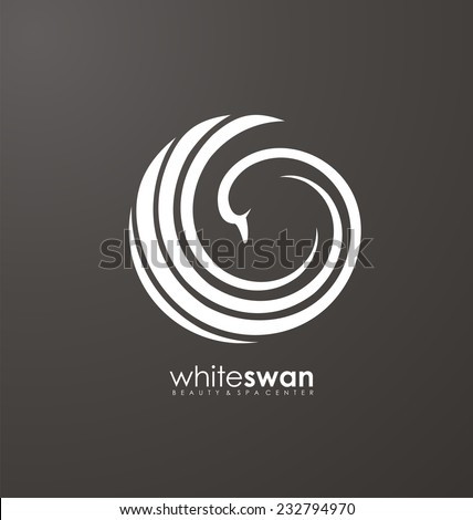 Unique concept. Swan bird abstract vector logo design template. Creative symbol for SPA,  Cosmetics, Beauty and Health. Minimalistic icon idea. - stock vector