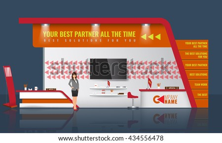Unique creative exhibition stand display design with table, tv light beam info board logo and some promotion objects. Realistic Trade Booth template mock up. Corporate identity design elements. - stock vector