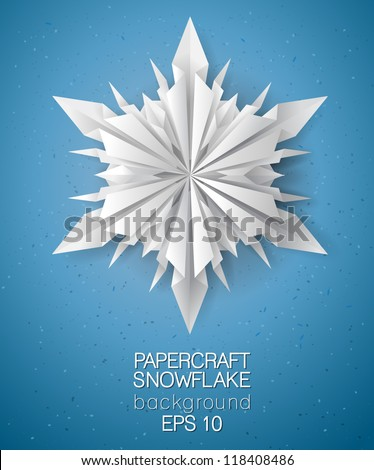 Unique 3D Origami Paper Folded Snowflake Card