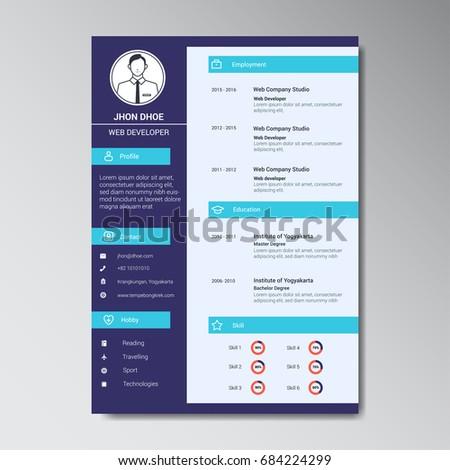 unique flat color curriculum vitae design template with photo or avatar placeholder - Curriculum Vitae Design Template