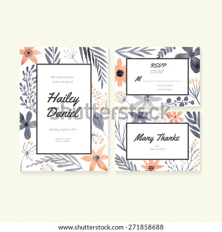 Unique gentle vector wedding cards template with watercolor. Wedding invitation or save the date, RSVP, thank you card for bridal design. Vector watercolor postcard collection with floral decoration.  - stock vector