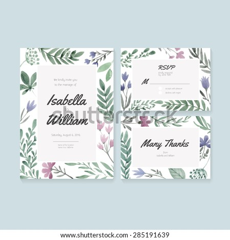 Unique Gentle Vector Wedding Cards Template Stock Vector 285191639