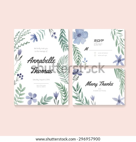 Unique gentle vector wedding cards template with watercolor. Wedding invitation or save the date, RSVP and thank you card for bridal design. Vector watercolor postcard collection.  - stock vector