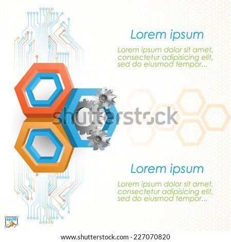 Unique idea for technology background; Cogwheels framed by three dimensions hexagons. Abstract background for office and business, wallpaper, poster, template for designers. - stock vector