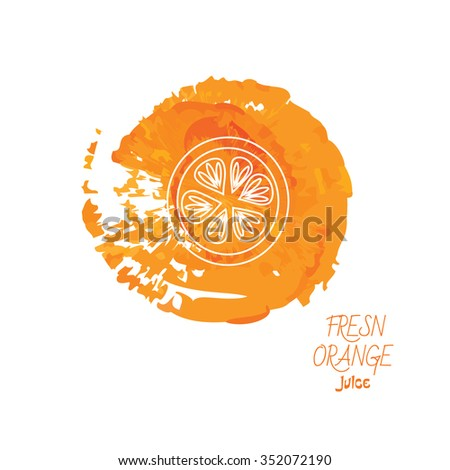 Unique illustration with line icon of orange. Fresh orange juice concept. Modern linear style, isolated vector illustration on orange watercolor background.  - stock vector