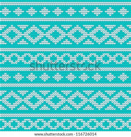 Unique knitted pattern with geometric ornament - stock vector