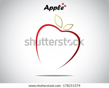 unique love apple fruit concept design vector illustration unusual artwork : Apple in the shape of a simple love with green shiny leaves and apple text and bright white background - stock vector