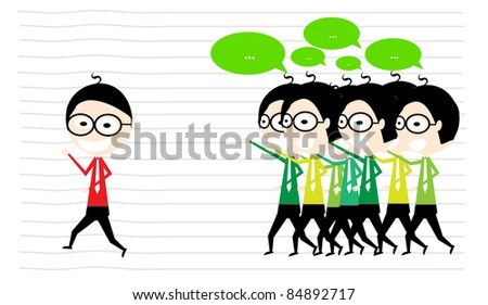 unique man at office - stock vector