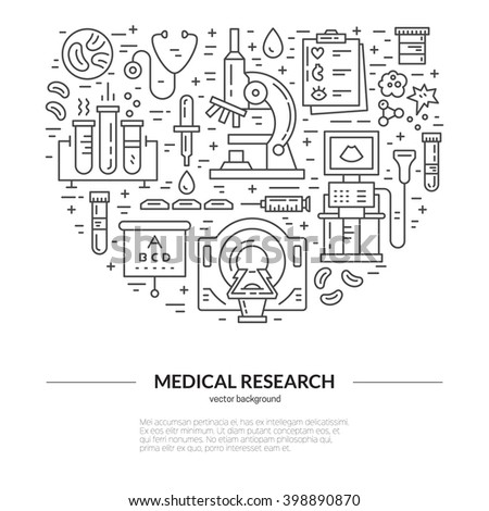 Unique medical illustration with MRI, scan, microscope and other diagnostic process symbols. Vector line style series. - stock vector