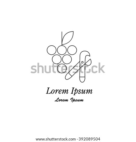 Unique modern logotype with winery symbol grape made in modern line style vector. Wines series. - stock vector