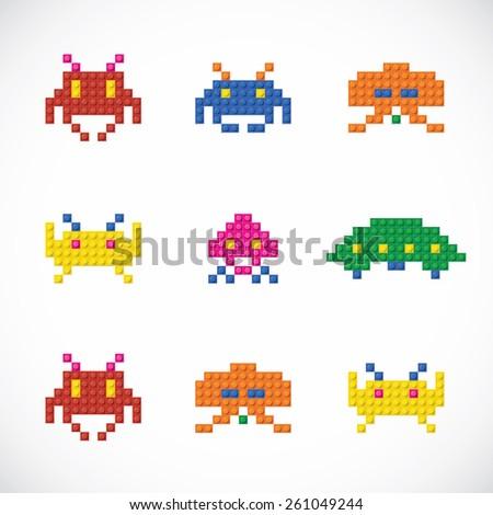 Unique Plastic Parts Character Toys  - stock vector