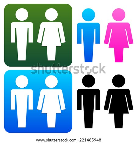 Unique restroom or general male, female signs - stock vector