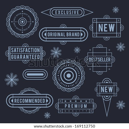 Unique retro labels. EPS8. - stock vector