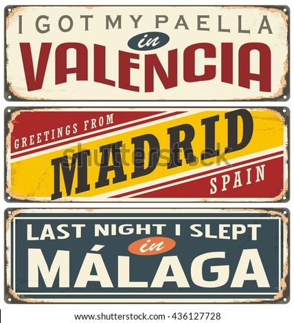 Unique retro tin sign collection with cities in Spain. Vintage vector souvenir sign or postcard templates. Travel theme. Places to visit and remember. - stock vector