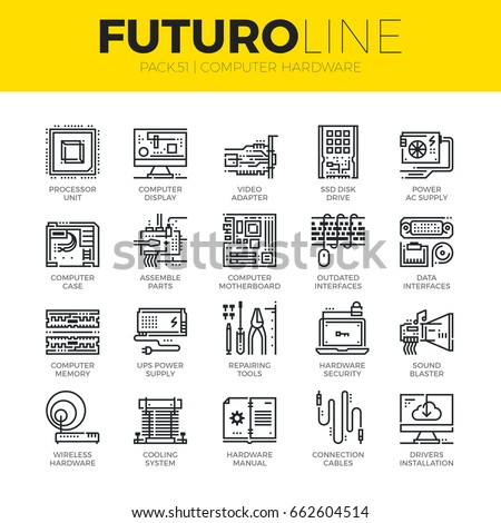 Unique thin line icons set of computer hardware and electronics parts. Premium quality outline symbol collection. Modern linear pictogram pack of metaphors. Stroke vector logo concept for web graphics