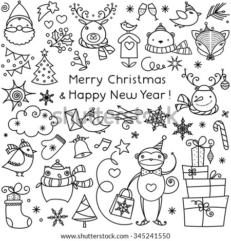 Unique vector merry christmas concept with different new year celebration elements. Easy and clean to edit. Linear doodle illustrations for t-shirts, banners, flyer and different business designs.  - stock vector