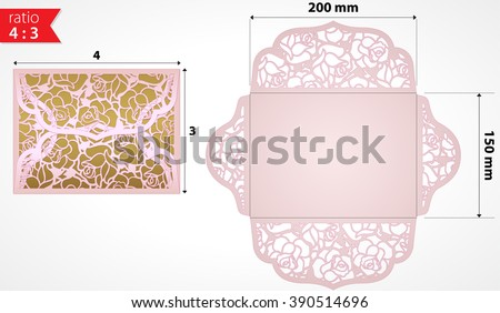 Unique wedding invitation folds laser cutting stock vector hd unique wedding invitation folds for laser cutting laser cut wedding invitation envelope with rose flowers stopboris Images