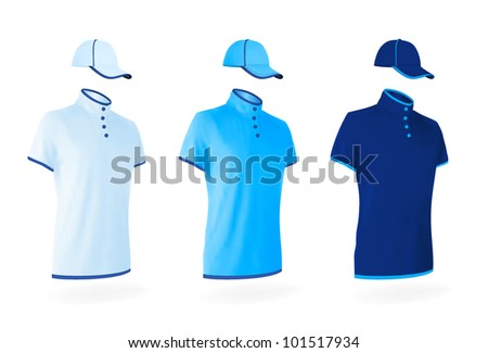 Unisex uniform template set: polo shirts and baseball caps. - stock vector