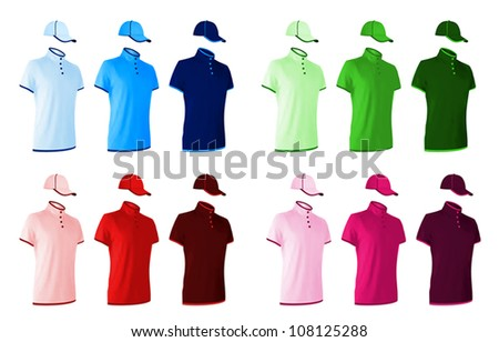 Unisex uniform template set: polo shirts and baseball hats. - stock vector